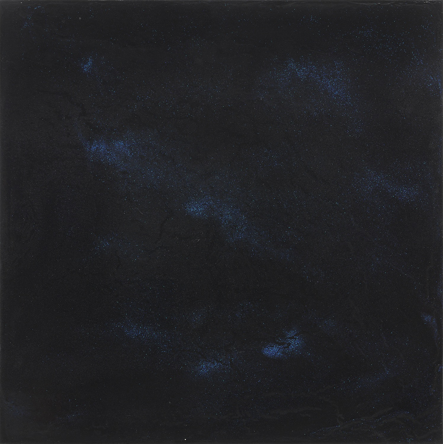 "Still 8 Black Gesso, acrylic medium, glitter on panel 24"" x 24"""